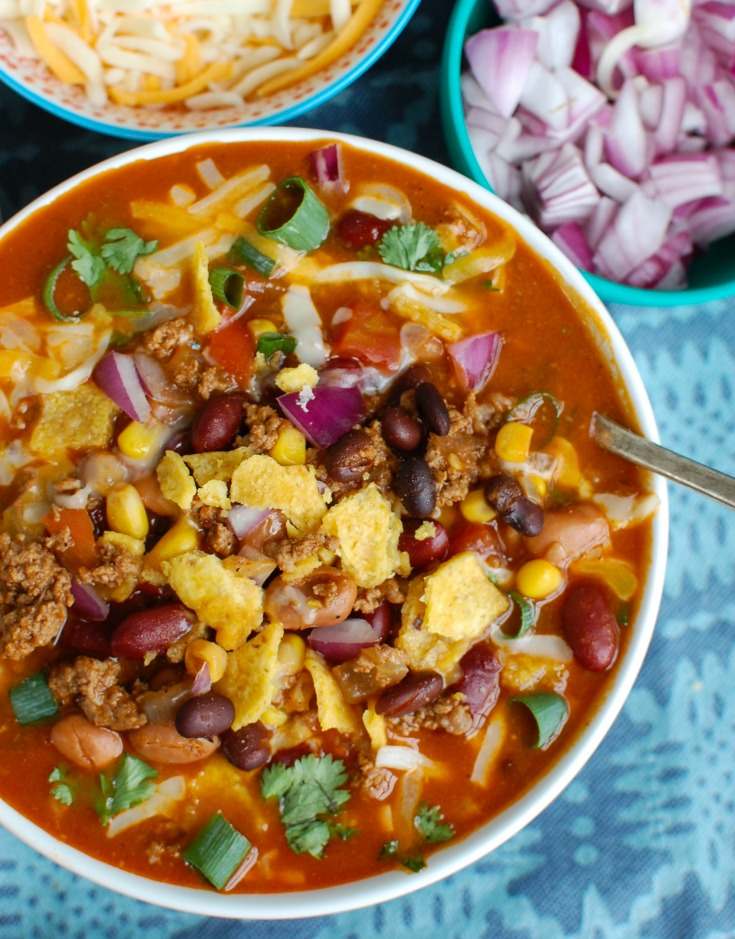 Instant Pot Beef Taco Soup Above