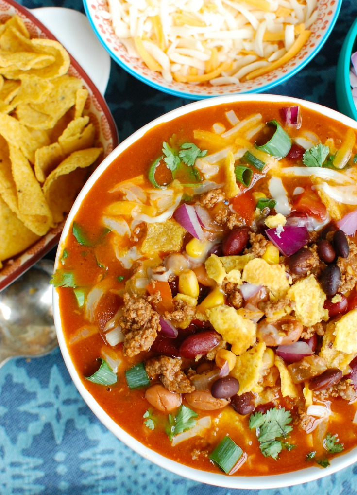 Instant Pot Taco Soup with spoon