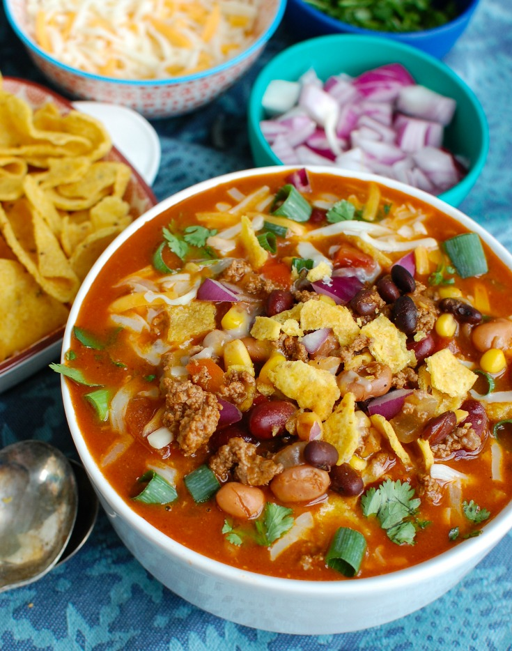 Instant Pot Taco Soup with chips