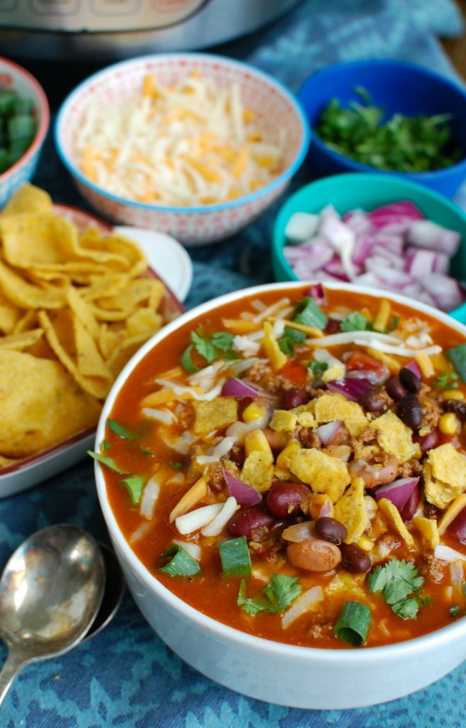 Instant Pot Beef Taco Soup Big Bowl