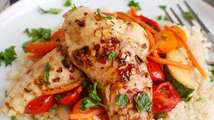 Sheet Pan Honey Balsamic Chicken Tenders and Vegetables White Plate