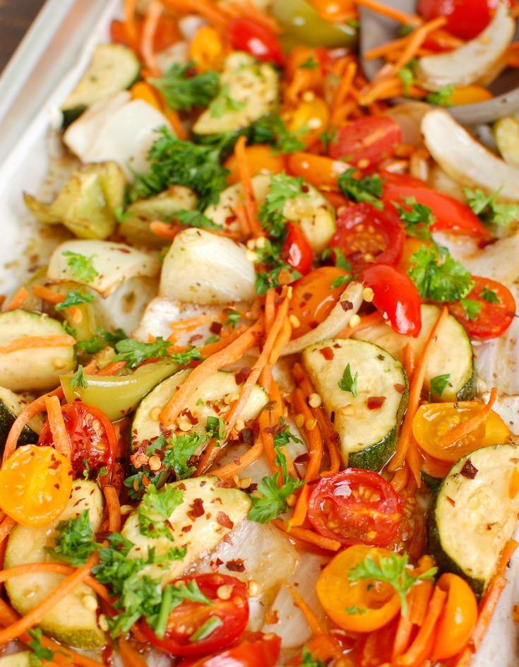 Sheet Pan Honey Balsamic Chicken Tenders and Vegetables Veggies