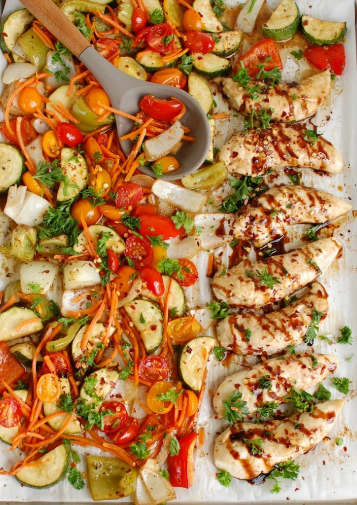 Sheet Pan Honey Balsamic Chicken Tenders and Vegetables Baking Pan