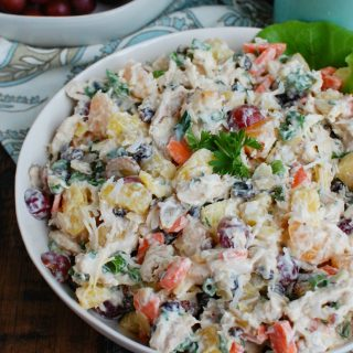 Tropical Chicken Salad White Bowl