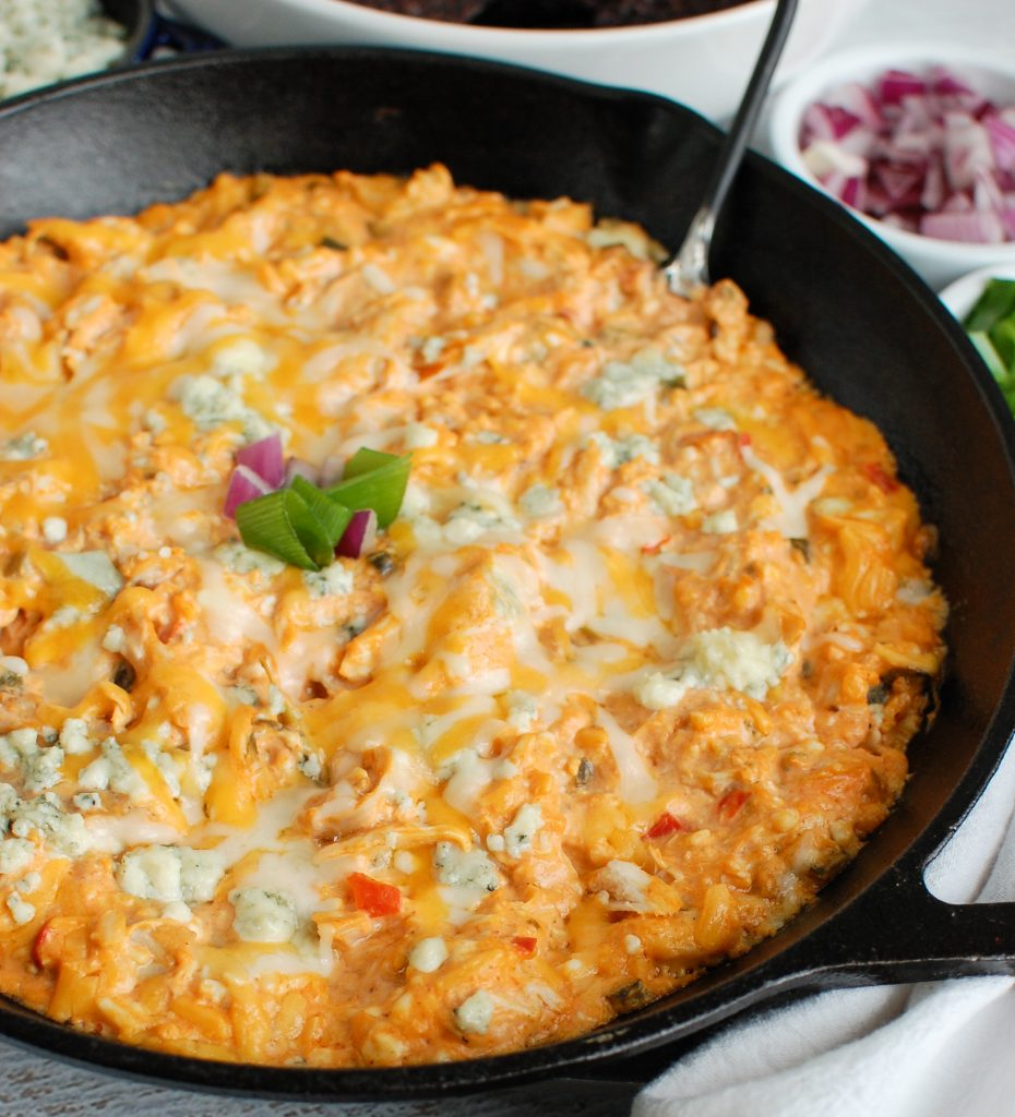 Buffalo Chicken Queso Cheese Dip Black Skillet