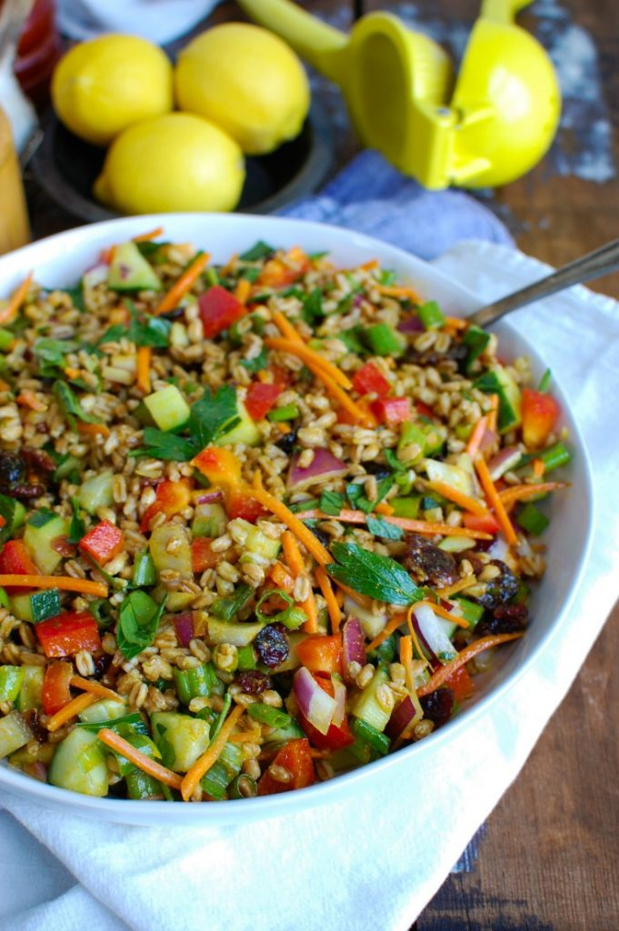 Easy Summer Farro Salad White Bowl with spoon