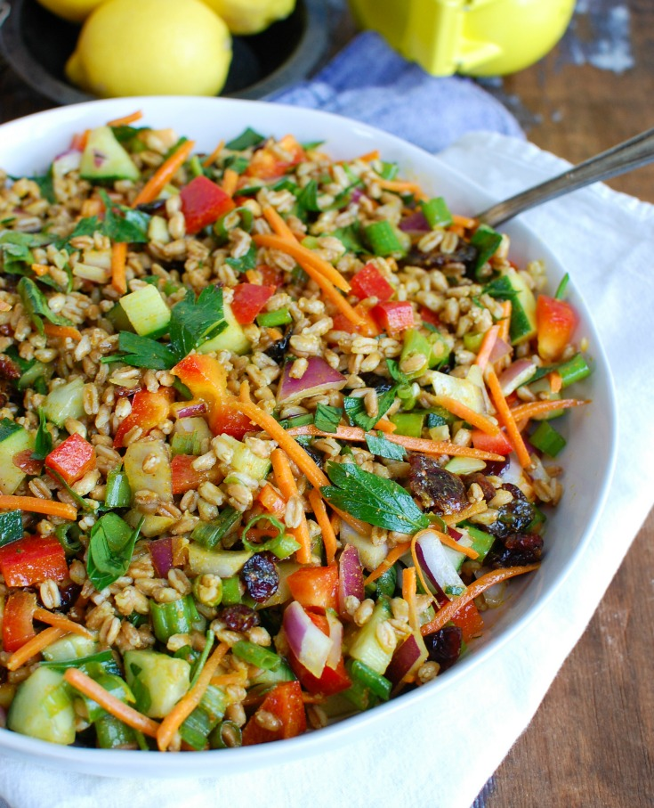 Easy Summer Farro Salad White Bowl