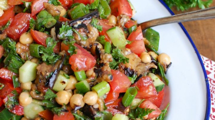 Mediterranean Eggplant Chickpea Salad