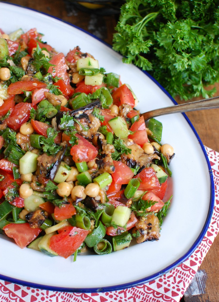 Mediterranean Eggplant Chickpea Salad with spoon.