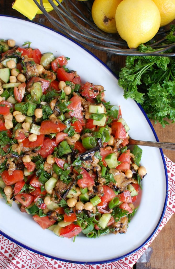 Mediterranean Eggplant Chickpea Salad on White Blue Platter