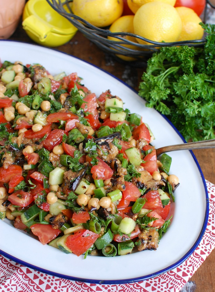 Mediterranean Eggplant Chickpea Salad on Side View