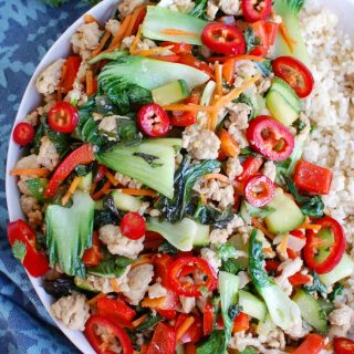 Spicy Thai Basil Chicken Stir-Fry White Plate