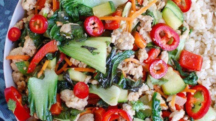 Spicy Thai Basil Chicken Stir-Fry White Plate
