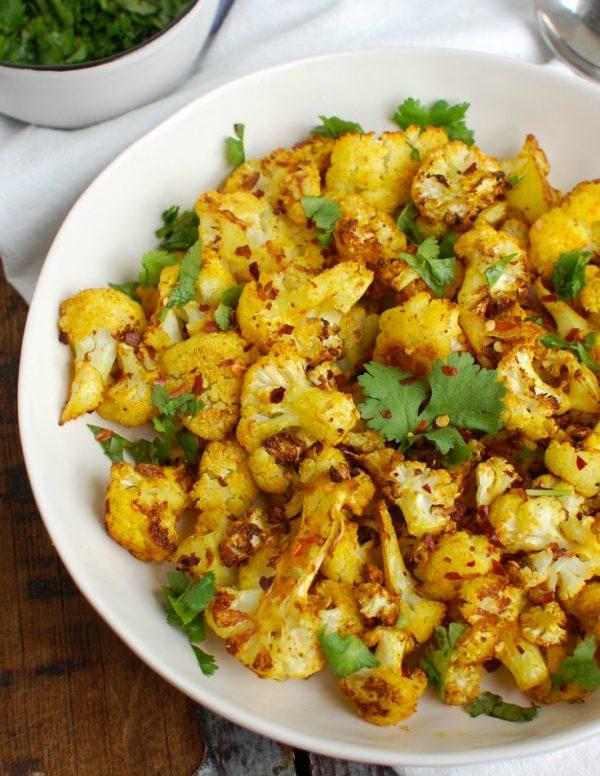 Turmeric Roasted Cauliflower White Dish