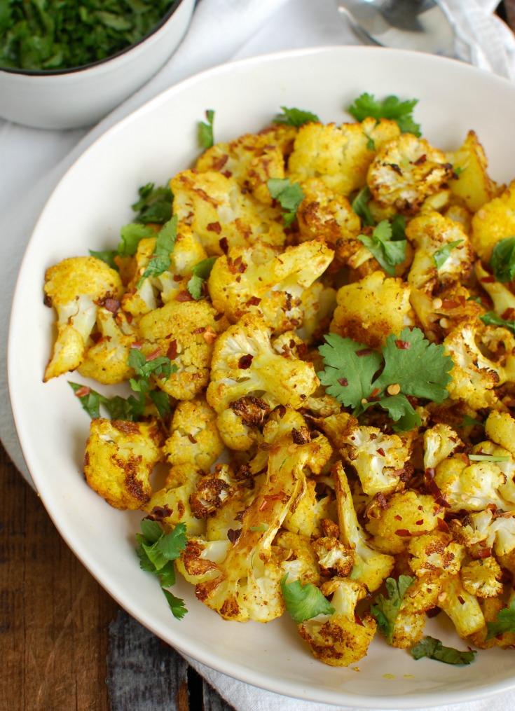 Turmeric Roasted Cauliflower with cilantro