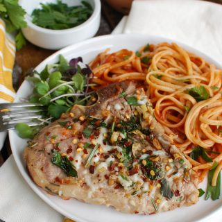 Easy Italian Style Veal Chops with Pasta