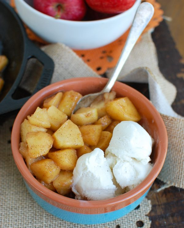 Easy Skillet Apples with Ice Cream