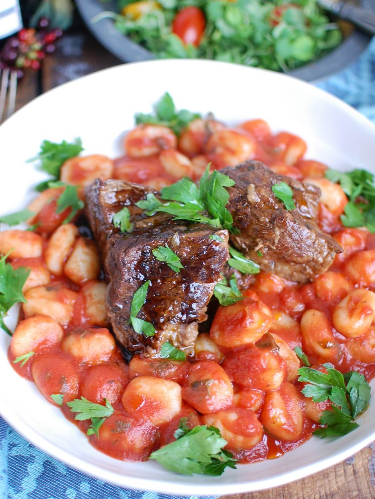 Slow Cooker Balsamic Short Ribs in white bowl