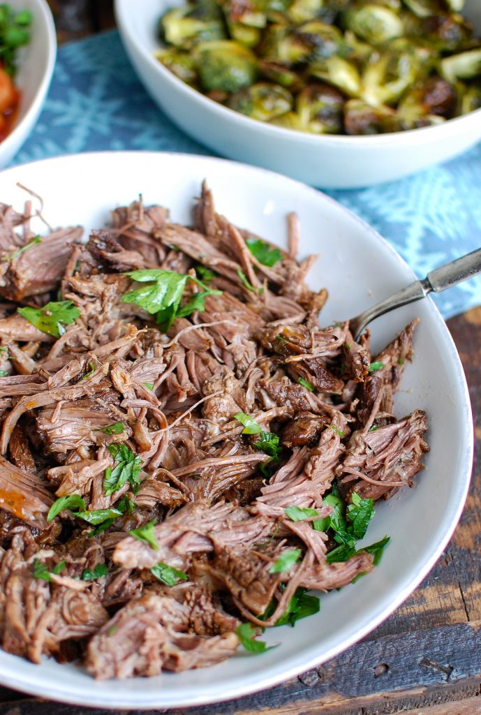 Slow Cooker Balsamic Short Ribs Shredded Beef