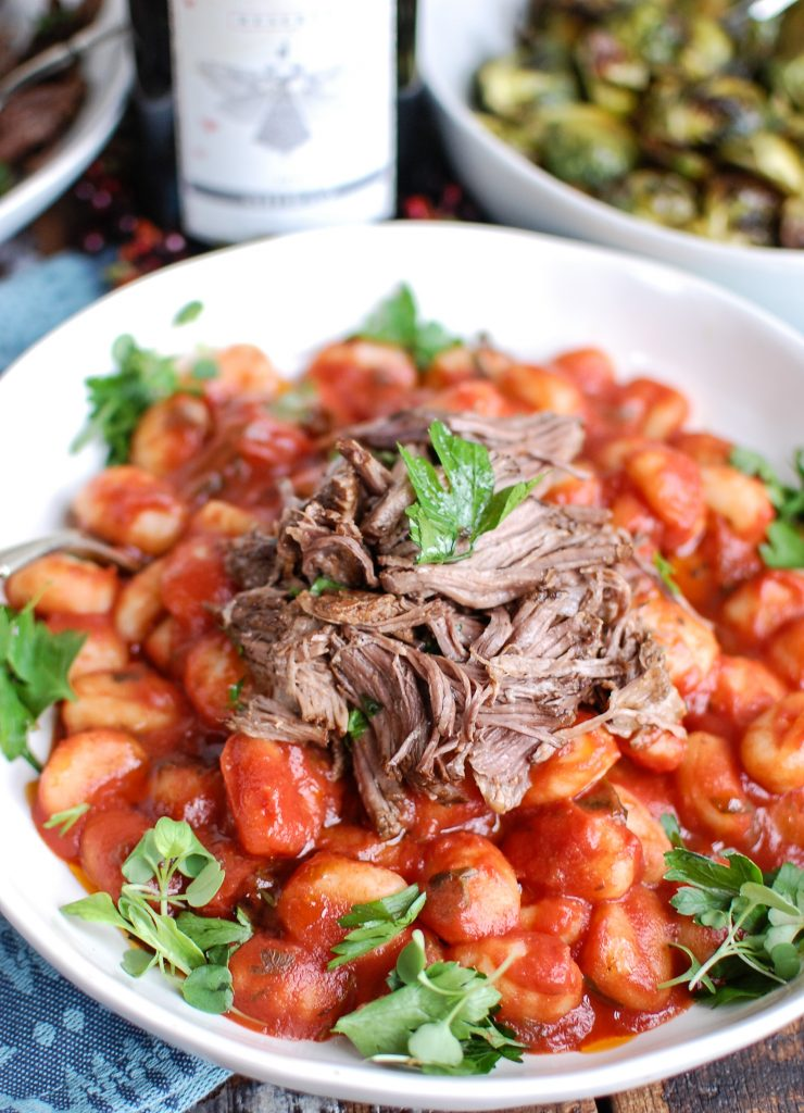 Slow Cooker Balsamic Short Ribs Shredded Beef on Gnocchi