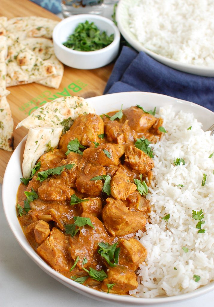 Slow Cooker Butter Chicken White Bowl