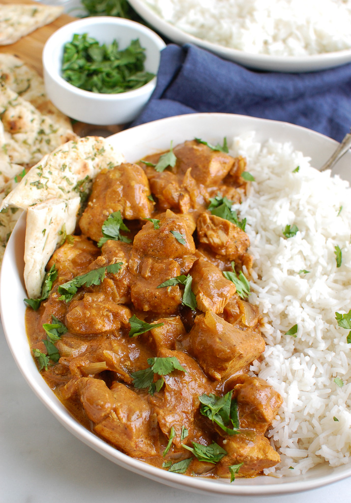Slow Cooker Butter Chicken with Naan Bread