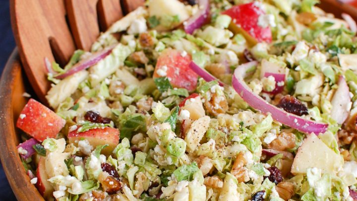 Brussels Sprout Apple Goat Cheese Salad Wooden Bowl