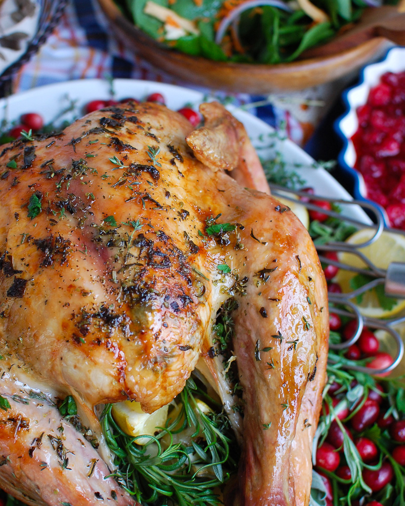 Herb Butter Roasted Turkey on White Platter