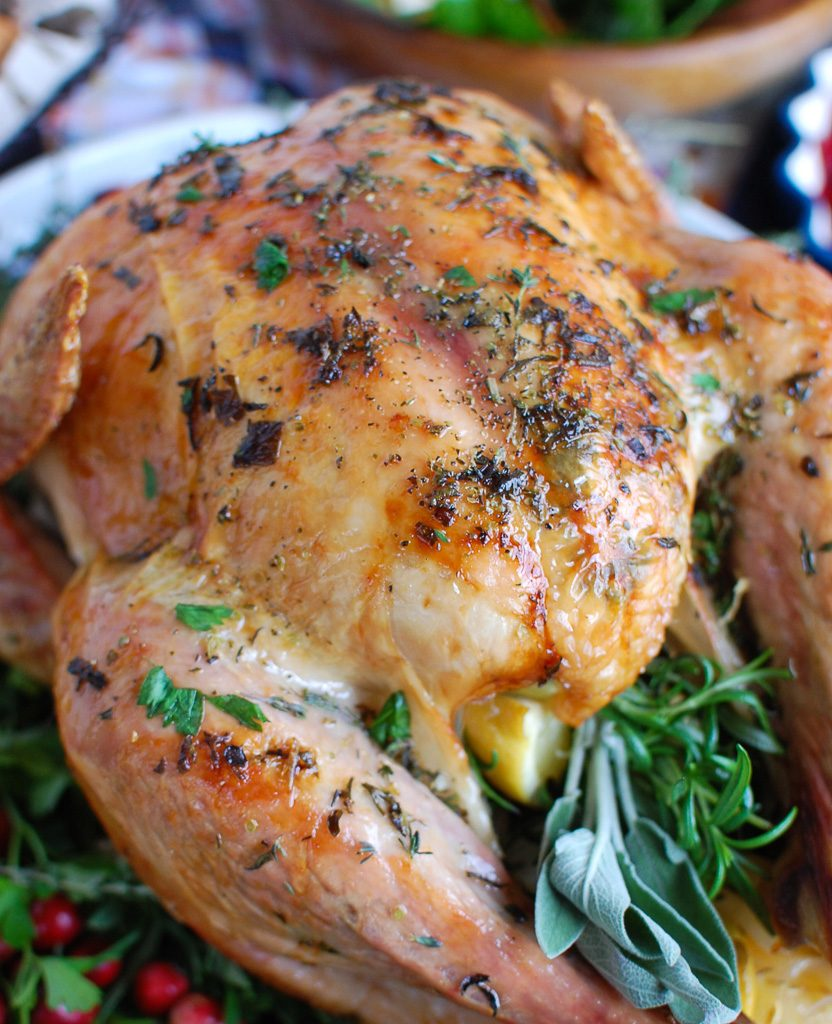 Herb Butter Roasted Turkey with cranberries
