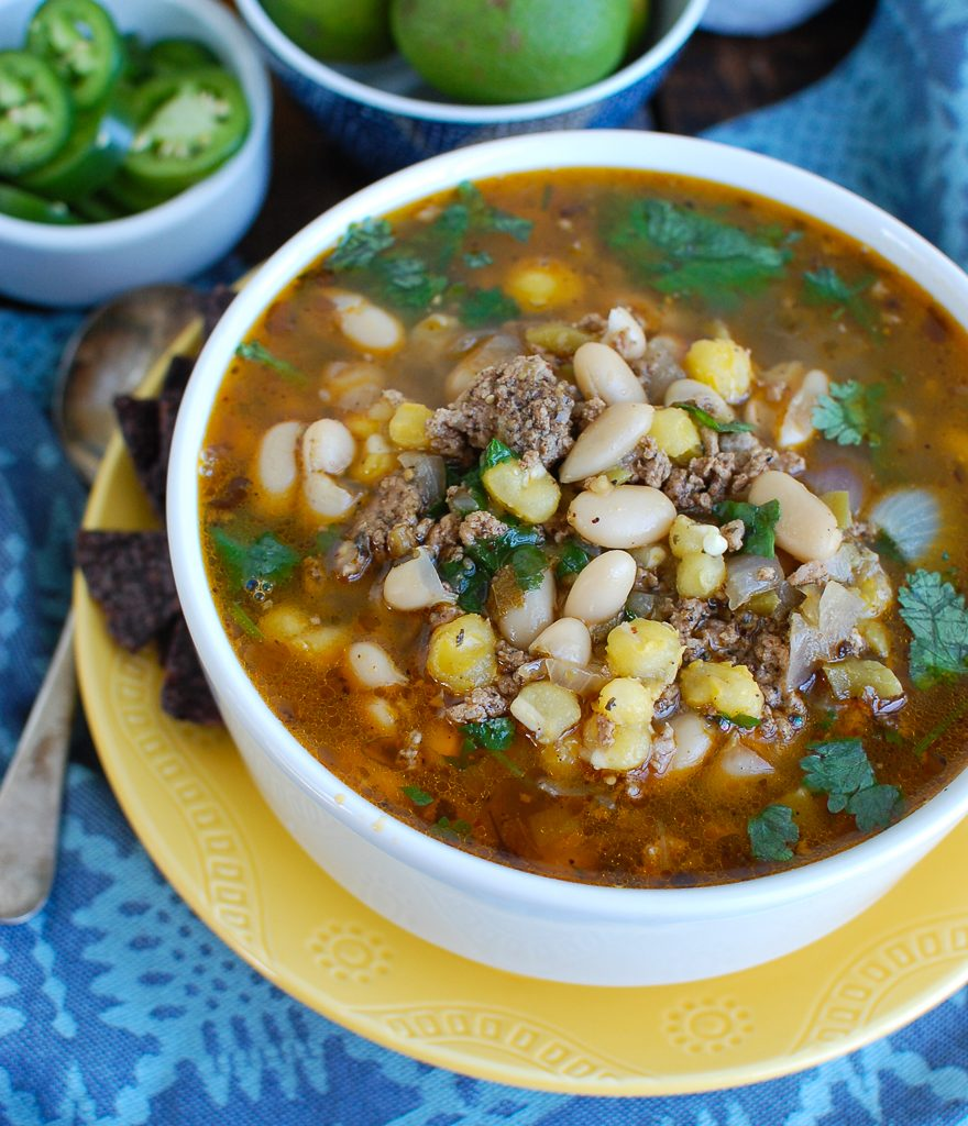 Instant Pot Pork Chili Verde on a plate