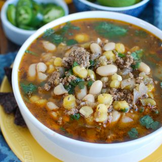 Instant Pot Pork Chili Verde in White Bowl
