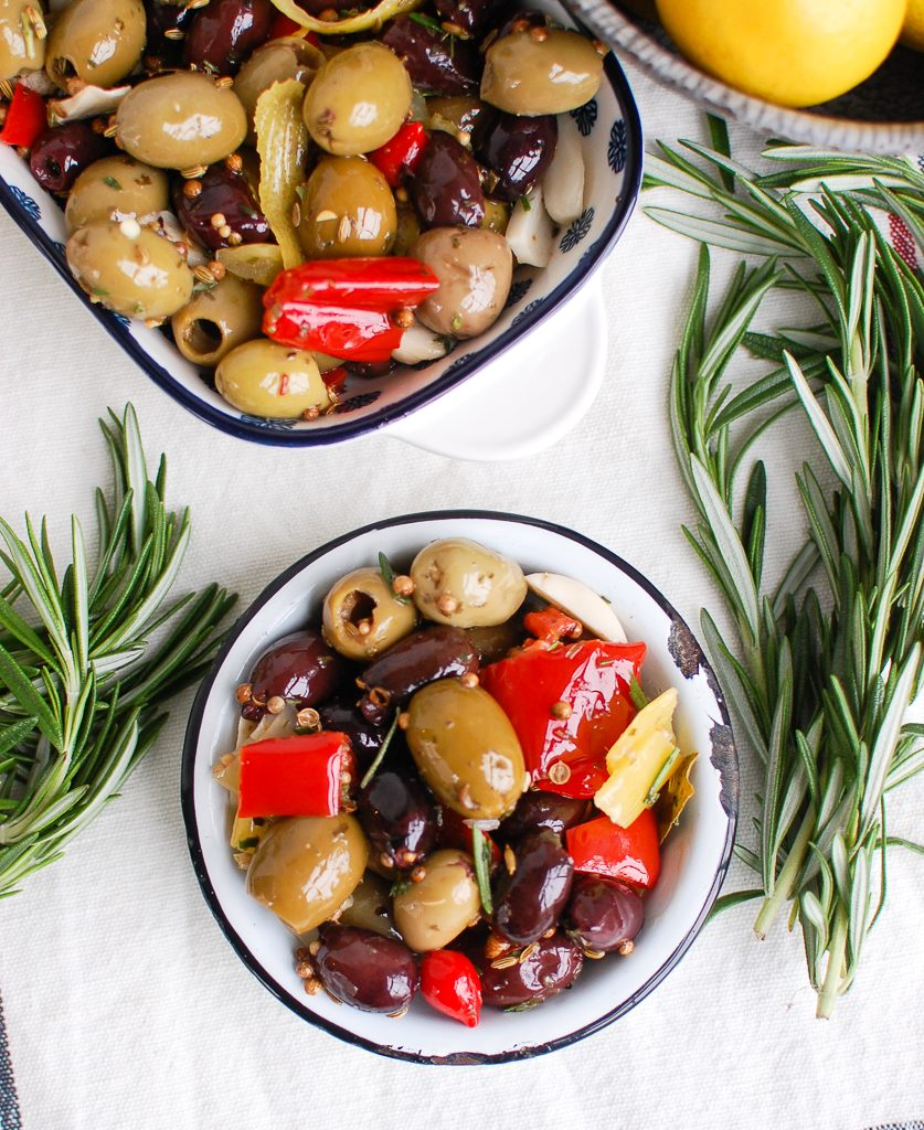 Lemon Marinated Olives in Small Bowl