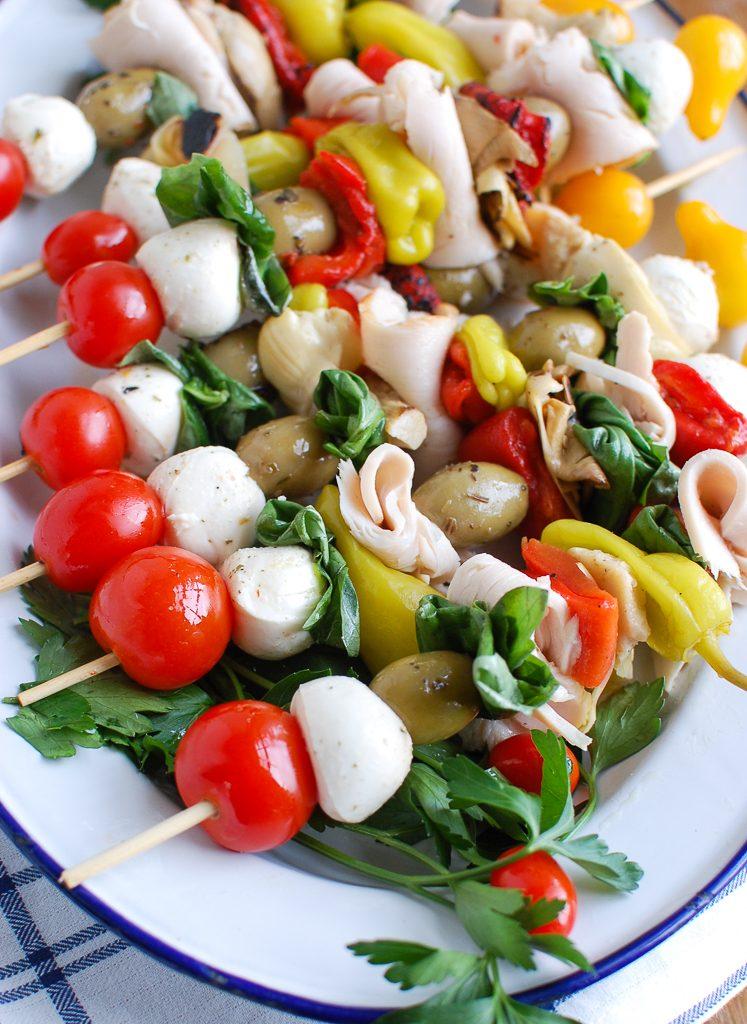 Mediterranean Antipasto Skewers White Plate