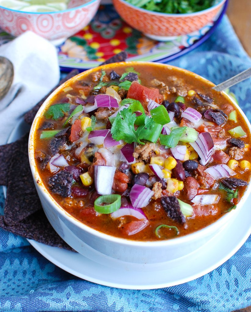 Instant Pot Turkey Chili with Spoon
