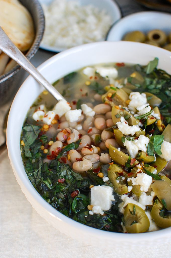 Navy Bean and Greens Soup with Feta and Olives Side View