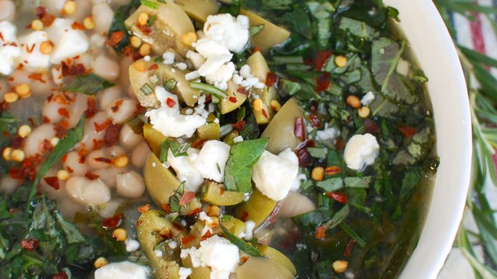 Navy Bean and Greens Soup with Feta and Olives White Bowl