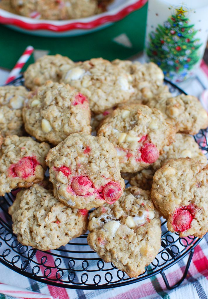 Oatmeal White Chocolate Peppermint Cookies on Wire Rack