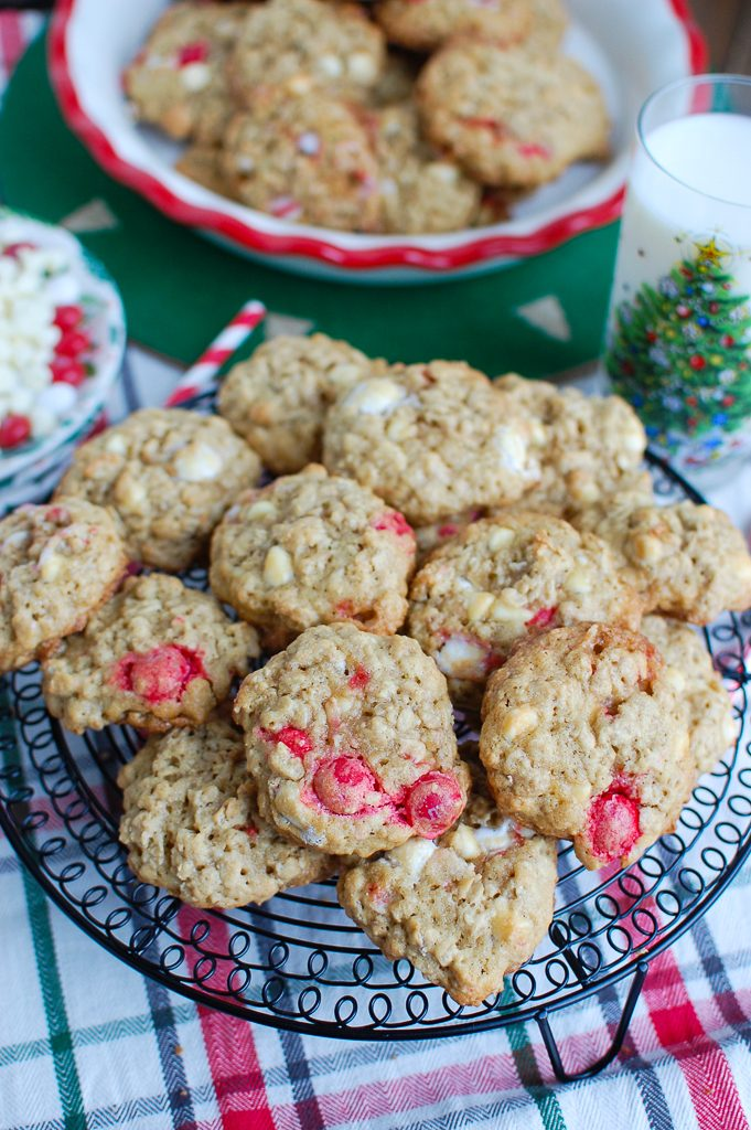 Oatmeal White Chocolate Peppermint Cookies Red and White