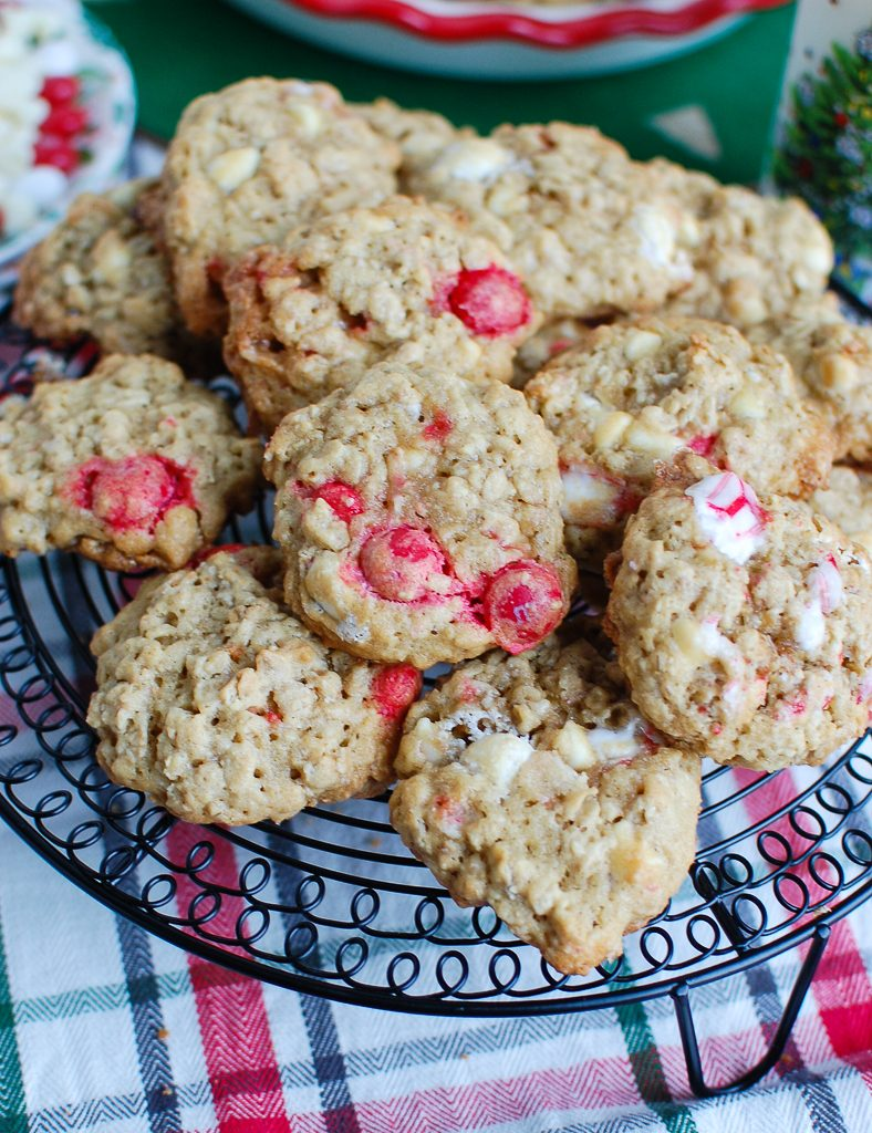Oatmeal White Chocolate Peppermint Cookies On a Tray