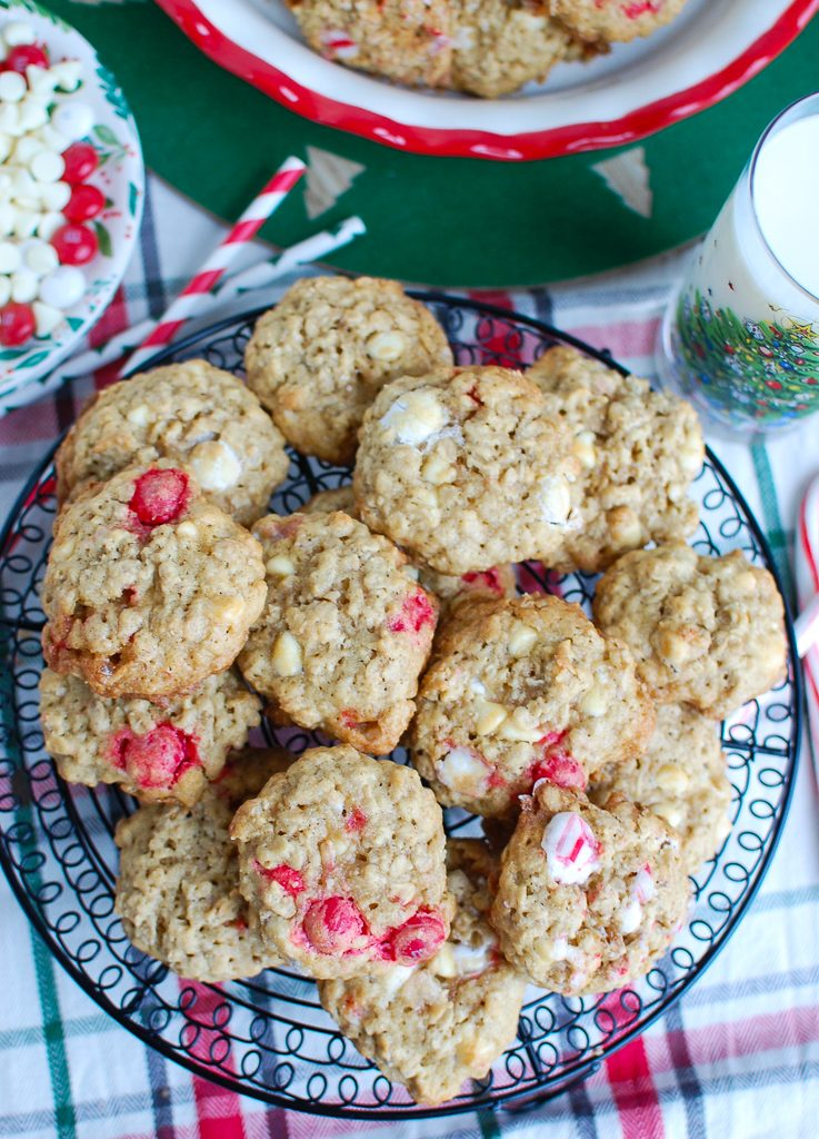 Oatmeal White Chocolate Peppermint Cookies Above