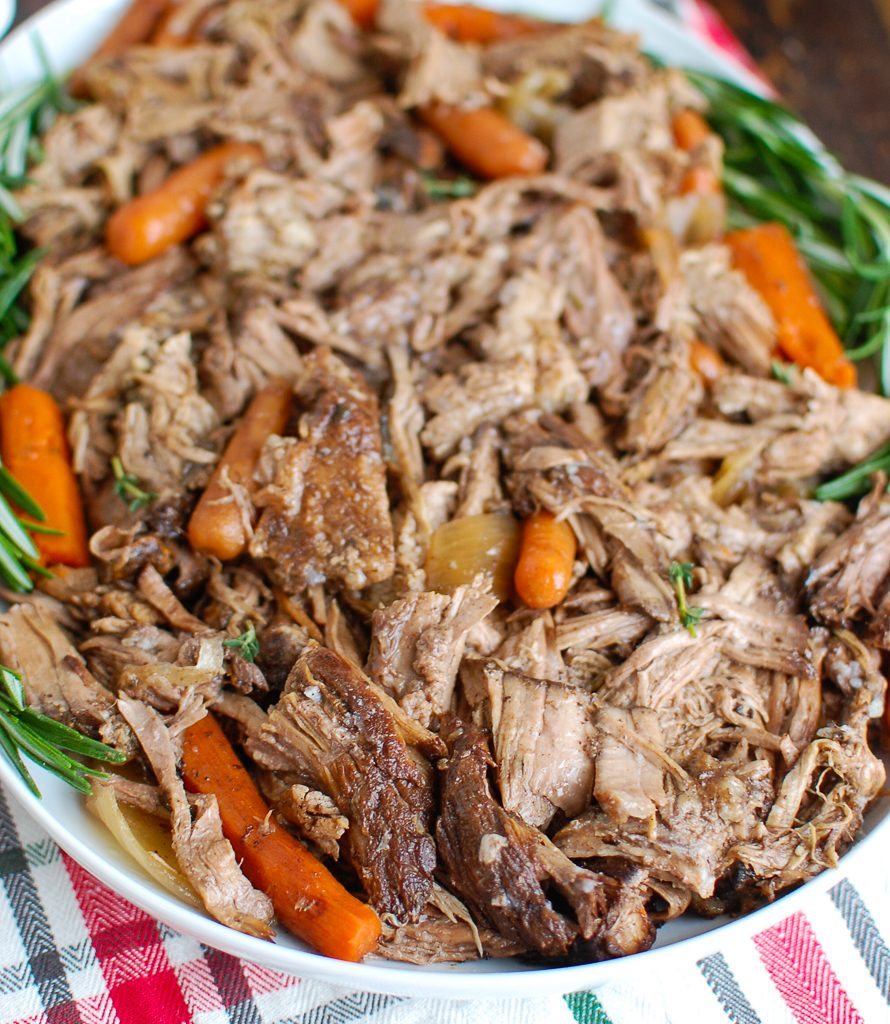 Slow Cooker Balsamic Pot Roast with Cranberry Sauce on Platter