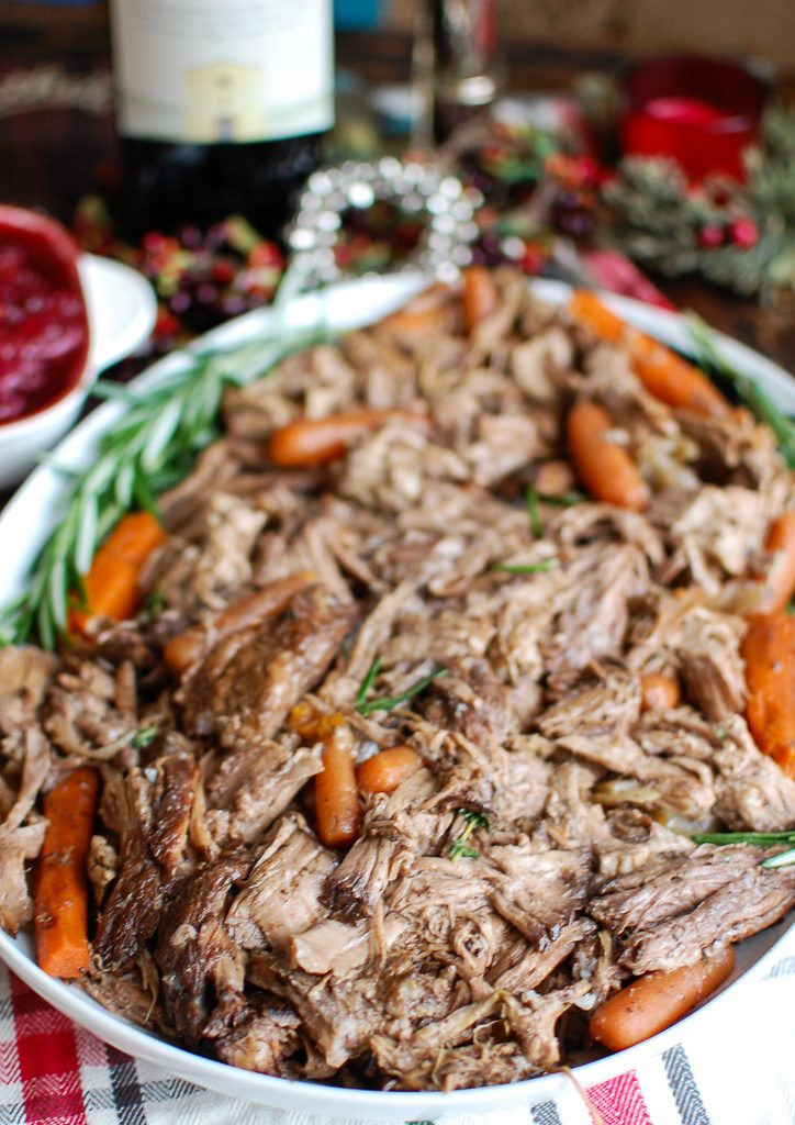 Slow Cooker Balsamic Pot Roast on White Plate
