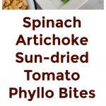 Spinach Artichoke Sun-dried Tomato Phyllo Bites Collage