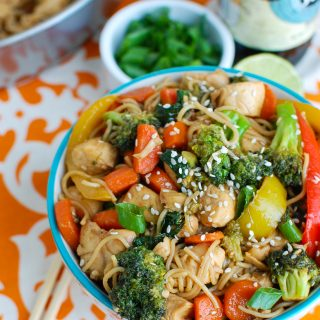 Easy Chicken Ramen Noodle Stir Fry In Bowl