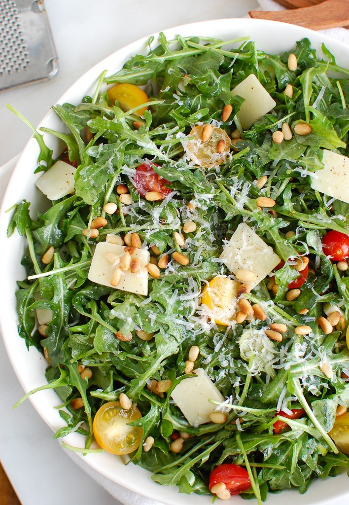 Lemon Arugula Salad with Pine Nuts with Parmesan Cheese