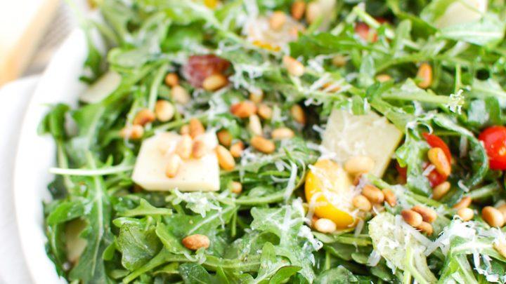 Lemon Arugula Salad with Pine Nuts White Bowl