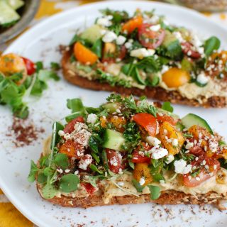 Mediterranean Hummus Toast with Za'atar Two Toasts