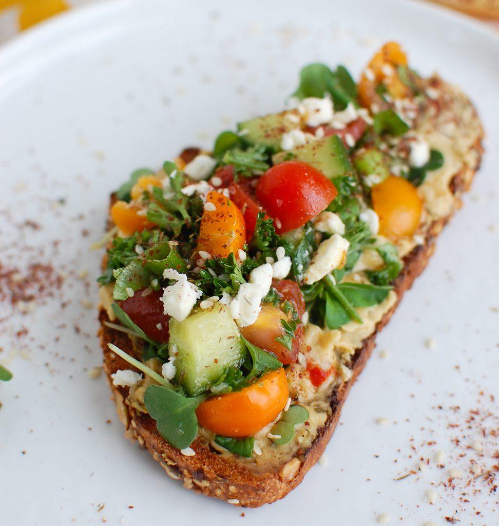 Mediterranean Hummus Toast with Za'atar Single Toast