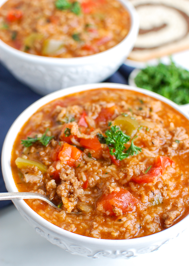 Instant Pot Stuffed Pepper Soup White Bowl