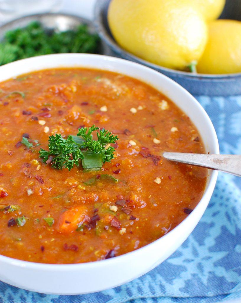 Slow Cooker Lentil Soup with Spoon